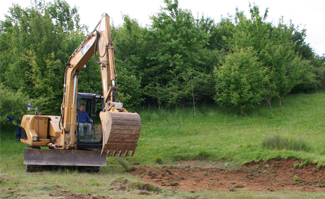 Earth moving works for pond creation