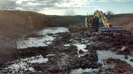 Clearance and desilting of existing pond, Primrose Valley, Filey