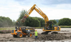 Earth moving works for wetland creation