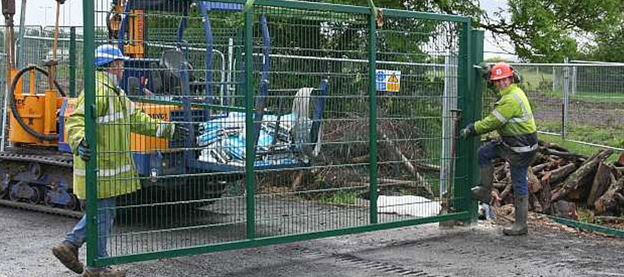 Site security fencing as part of site preparation works at Cribbs Causeway retail park, Bristol