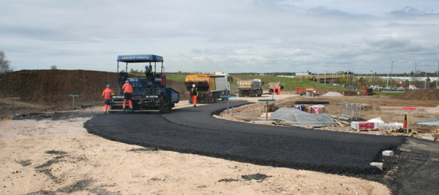 Haul road construction as part of site preparation works at Cribbs Causeway retail park in Bristol