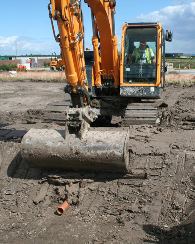 Site preparation works for a sustainable drainage system (SuDS) at Flanders Farm fruit packing centre