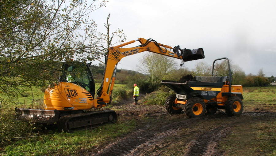 Earthworks for wet meadows restoration and wetland creation at Barford in Wiltshire