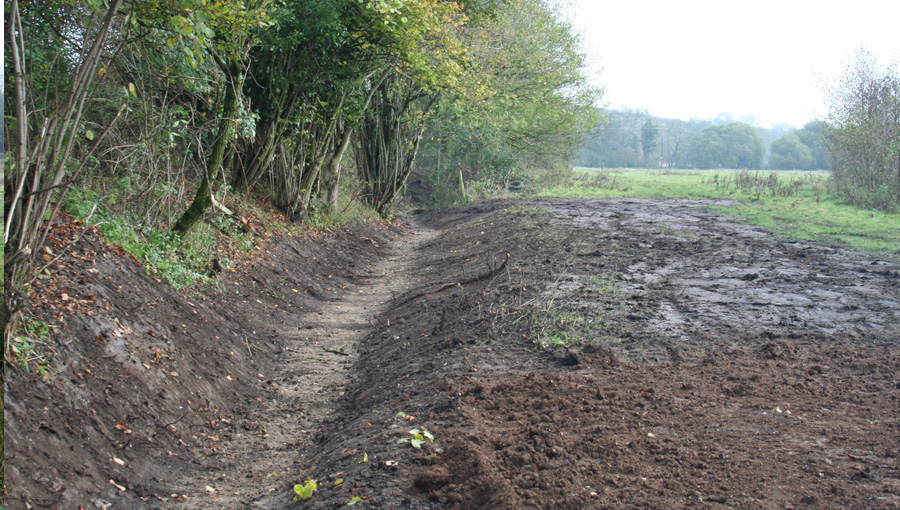 Ditch construction at Barford for the restoration of wet meadows and for wetland creation