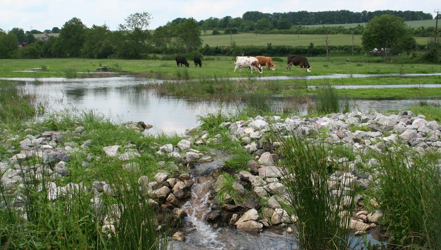 Water control at wet meadow and wetland creation project at Barford, Wiltshire