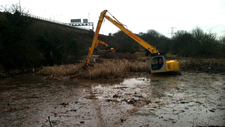 Pond desilting and clearance for wildlife for Birmingham Wildlife Trust