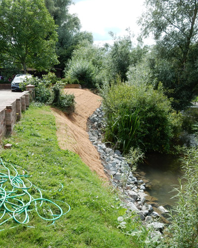 Erosion control along a river bank using Rip-rap