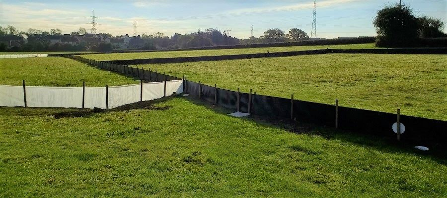 Temporary clear and black semi-permanent newt fencing