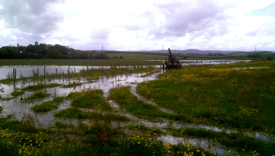 A view of the flood meadows at Steart Marshes flood alleviation scheme