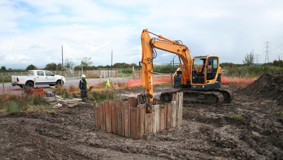 Water treatment system works at Steart Marshes