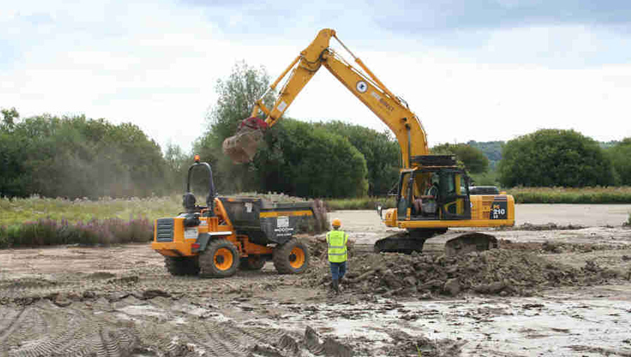 Excavation works for wader scrape construction at WWT Arundel