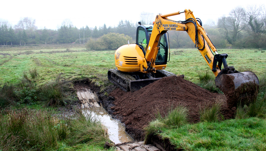 Wetland creation on wet meadows at Barford in Wiltshire for a private client