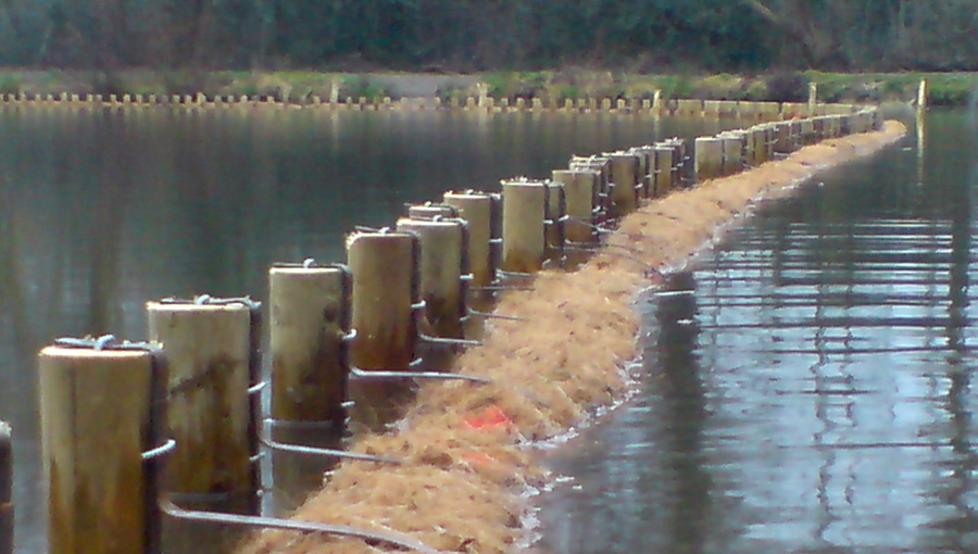 Bank reprofiling with staked geotextile
