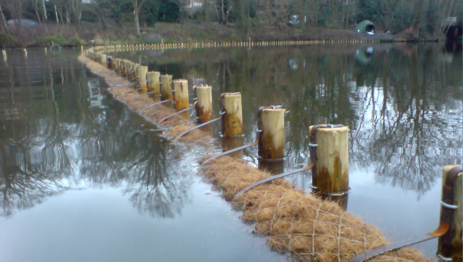 Staked geotextiles for bank reprofiling on the Basingstoke Canal
