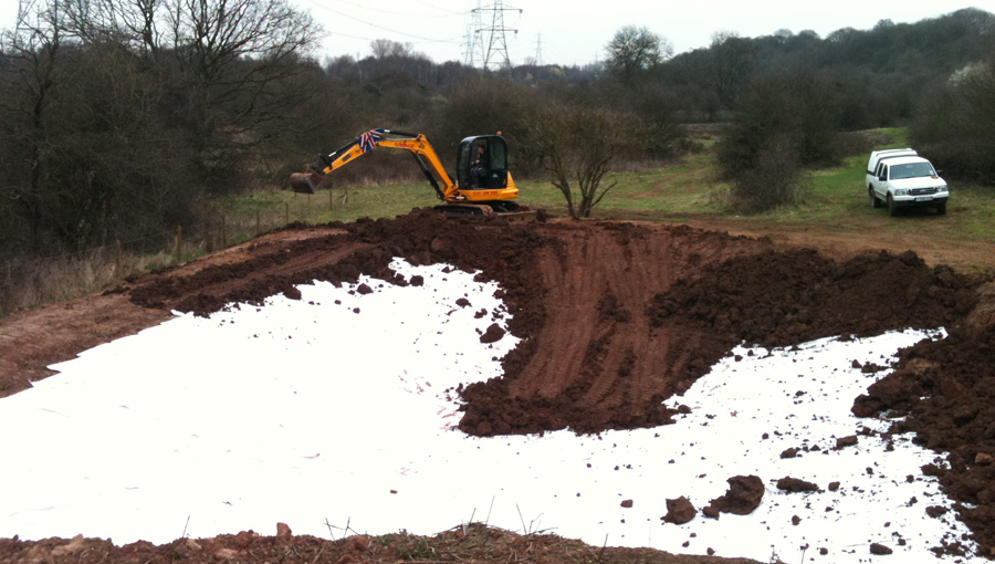 Bentonite liner for the wildlife pond for Birmingham Wildlife Trust