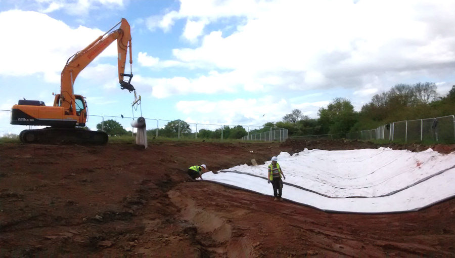 Pond being lined at the disused Filton Airport as part of the great crested newt mitigation