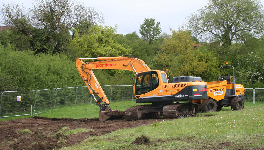 Earthworks for the great crested newt ponds as part of the wildlife mitigation at Filton's disused airport, Bristol