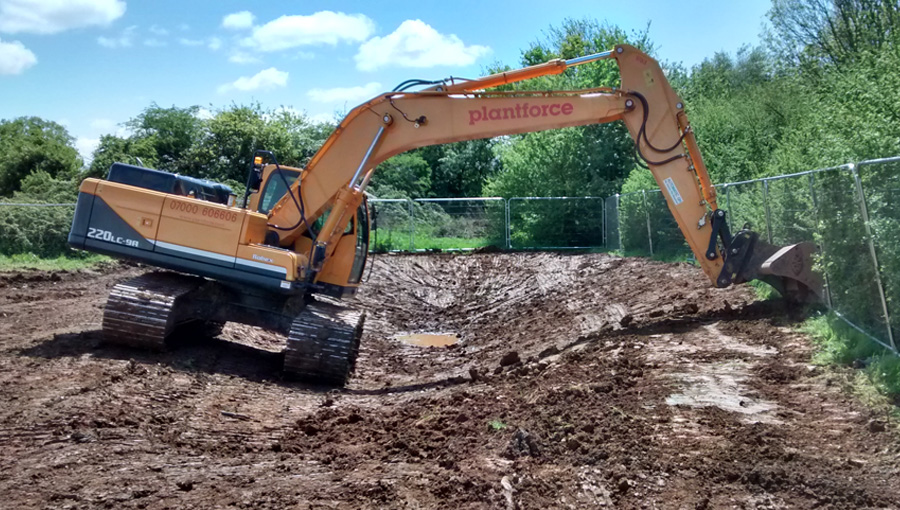 Construction starts for great crested newt pond as part of the wildlife mitigation at the disused Filton Airport in Bristol