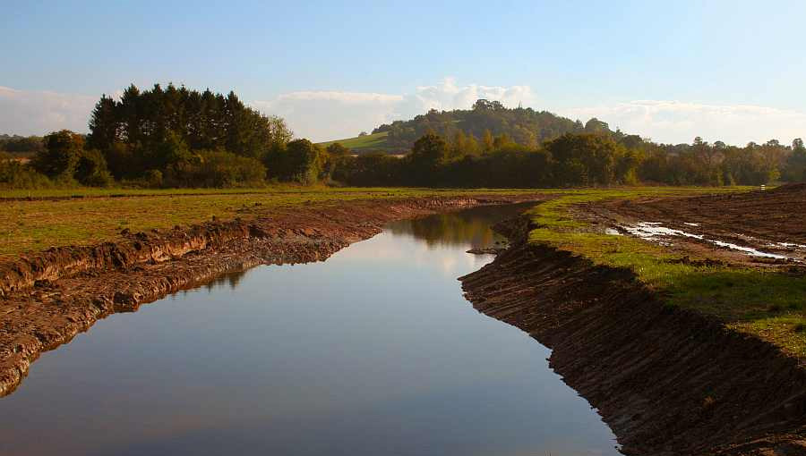 Ditch channel created to feed the wetland created at the National Perry Pear Centre at Hartpury, Gloucestershire