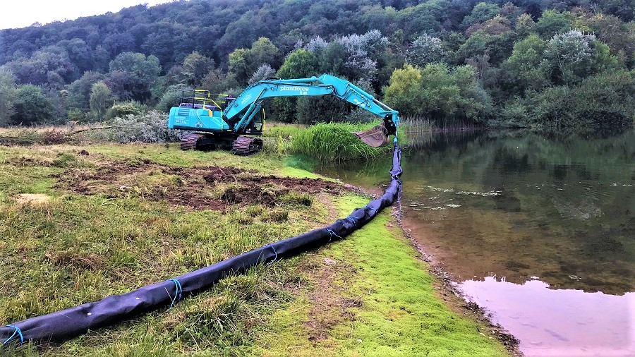 Silt curtain installation in large lake