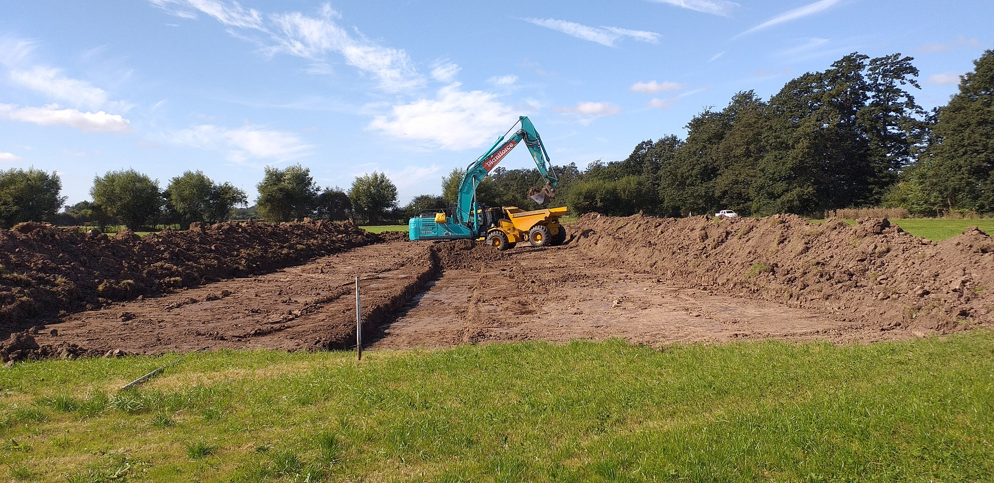 A paleo channel being excavated on the Slimbridge reserve before being reflooded